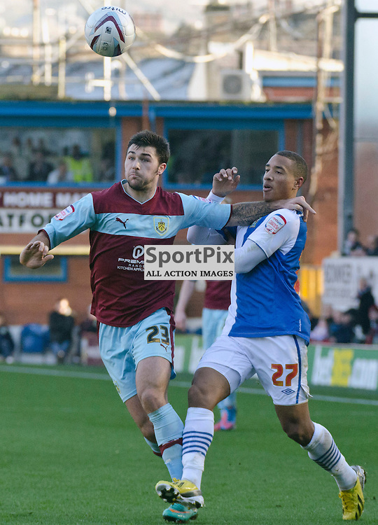 Charlie Austin battles for the ball with Adam Henley - Burnley v Blackburn Rovers NPower Championship Turf Moor 02 December 2012 (c) Greig Bertram | StockPix.eu