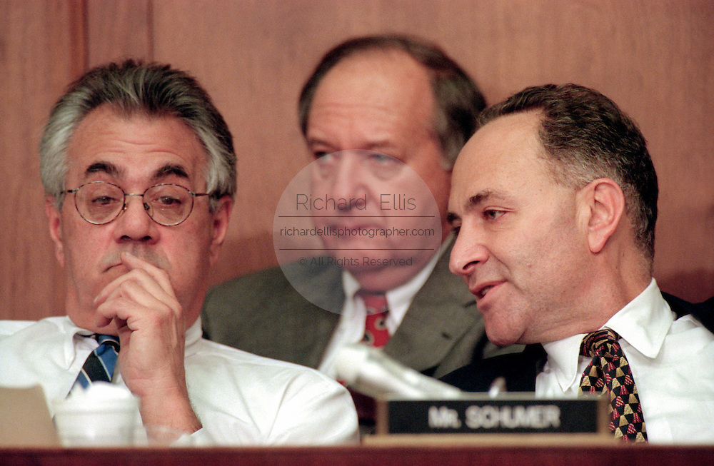 Democrats Rep. Charles Schumer talks with Rep. Barney Frank of the House Judiciary Committee during hearings on whether impeachment proceedings should begin against President Bill Clinton October 5, 1998 in Washington, DC. This is only the third time in US history that impeachment proceedings against a President have been brought to the House committee.