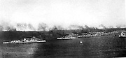 Imperial German fleet under steam in the Bay of Kiel. The Imperial naval dockyards and the base of the fleet were at Kiel.  Early 20th century.