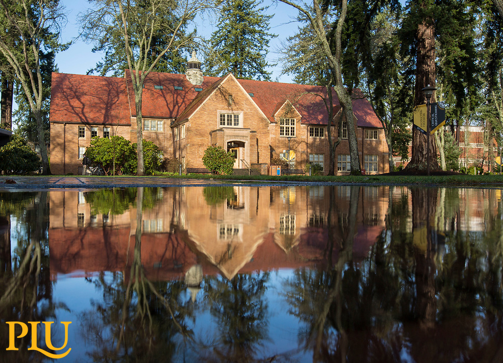 Xavier reflected in a puddle left behind from a rain storm at PLU, Thursday, Jan. 11, 2018. (Photo: John Froschauer/PLU)