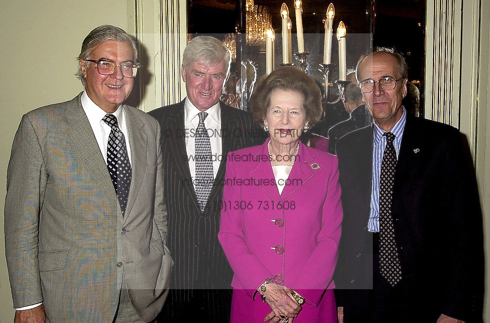 Left to right, LORD BAKER OF DORKING, LORD PARKINSON, BARONESS THATCHER and LORD TEBBIT, at a luncheon in London on 18th October 2000.<br /> OHZ 122