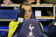Harry Kane of Tottenham Hotspur on the bench before the FA Cup match at White Hart Lane, London<br /> Picture by David Horn/Focus Images Ltd +44 7545 970036<br /> 14/01/2015