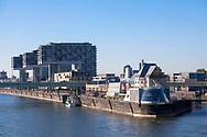 Germany, Cologne, the Crane Houses and the Chocolate Museum at the Rheinau harbor.<br /> <br /> Deutschland, Koeln, die Kranhaeuser und das Schokoladenmuseum im Rheinauhafen.