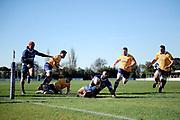 Vilimoni Koroi of Otago is try bound during the Ranfurly Shield match between Otago and North Otago, held at Whitestone Contracting Stadium, Oamaru, New Zealand, 26 July 2019. Credit: Joe Allison / www.Photosport.nz