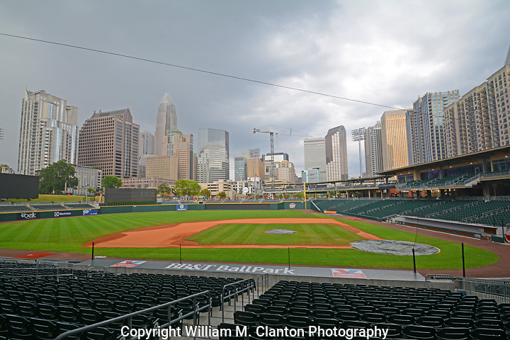 A storm moves in on the Charlotte Knights Ball Park.