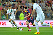 Lionel Messi of Barcelona in action while friendly soccer match between Lechia Gdansk and FC Barcelona on PGE Arena Stadium in Gdansk, Poland.<br /> <br /> Poland, Gdansk, July 30, 2013<br /> <br /> Picture also available in RAW (NEF) or TIFF format on special request.<br /> <br /> For editorial use only. Any commercial or promotional use requires permission.<br /> <br /> Photo by &copy; Adam Nurkiewicz / Mediasport
