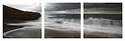 triptych of wave breaking at Bell's Beach on the Great Ocean Road