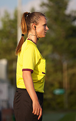 LLANELLI, WALES - Monday, August 19, 2013: A female assistant referee during the Group A match of the UEFA Women's Under-19 Championship Wales 2013 tournament at Stebonheath Park. (Pic by David Rawcliffe/Propaganda)