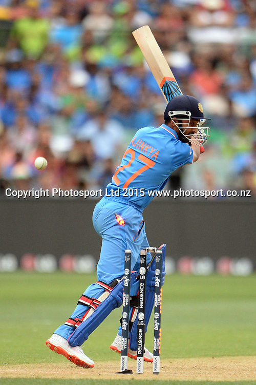 Indian batsman Ajinkya Rahane out bowled during the ICC Cricket World Cup match between India and Pakistan at Adelaide Oval in Adelaide, Australia. Sunday 15 February 2015. Copyright Photo: Raghavan Venugopal / www.photosport.co.nz