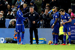 Leicester City Interim First Team Manager Craig Shakespeare speaks to Daniel Amartey of Leicester City - Mandatory by-line: Robbie Stephenson/JMP - 27/02/2017 - FOOTBALL - King Power Stadium - Leicester, England - Leicester City v Liverpool - Premier League