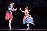 Dance phenomenon Les Ballet Trockedero de Monte Carlo is the award-winning, all-male, comedy ballet company hailing from New York. <br /> <br /> La Trovatiara Pas de Cinq, choreographed by Peter Anastos and featuring Joshua Thake &amp; Jack Furlong. <br /> &copy; Tony Nandi 2018