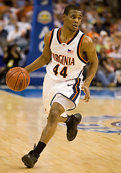 Virginia Cavaliers point guard Sean Singletary (44) in action against NC State.  The Virginia Cavaliers Men's Basketball Team fell to the North Carolina State Wolfpack 76-71 in the quarterfinal round of the 54th ACC Tournament at the St. Pete's Times Forum in Tampa, FL on March 9, 2007.
