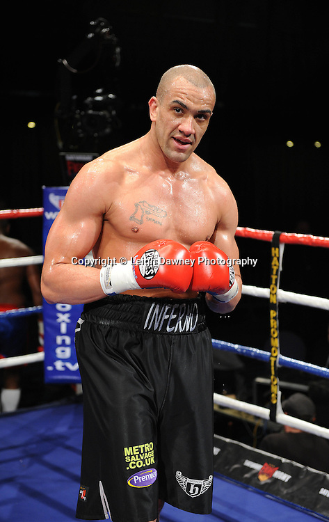 Heavyweight Richard Towers (pictured) defeats Daniel Bispo at the Premier Suite Reebok Stadium, Bolton on Saturday 26th February 2011. Hatton Promotions. Photo credit © Leigh Dawney.