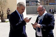 Roma, 10 Aprile  2015<br /> Primo giorno, per il sindaco di Roma Ignazio Marino, da presidente ad interim del Municipio di Ostia, rimasto senza guida, dopo le dimissioni del presidente Tassone per l'inchiesta Mafia Capitale. Nella foto: Alfonso Sabella, Assessore alla legalità del Comune di Roma con delega sul litorale di Ostia, con  Antonio Franco dirigente capo del commissariato di polizia Lido  di Ostia. <br /> Rome, April 10, 2015<br /> First day, for the mayor of Rome Ignazio Marino, as interim president of the Municipality of Ostia, left without guidance, after the resignation of President Tassone for inquiry Mafia Capital.. Pictured: Alfonso Sabella, Councillor legality of the City of Rome with the delegation on the coast of Ostia, with Antonio Franco executive head of the police station Lido di Ostia.