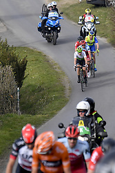 March 25, 2018 - Wevelgem, BELGIUM - Belgian Julien Vermote of Team Dimension Data and Russian Viacheslav Kuznetsov of Katusha-Alpecin pictured in action during the 80th edition of the Gent-Wevelgem cycling race, 251,1 km from Deinze, near Gent, to Wevelgem, Sunday 25 March 2018. BELGA PHOTO DIRK WAEM (Credit Image: © Dirk Waem/Belga via ZUMA Press)