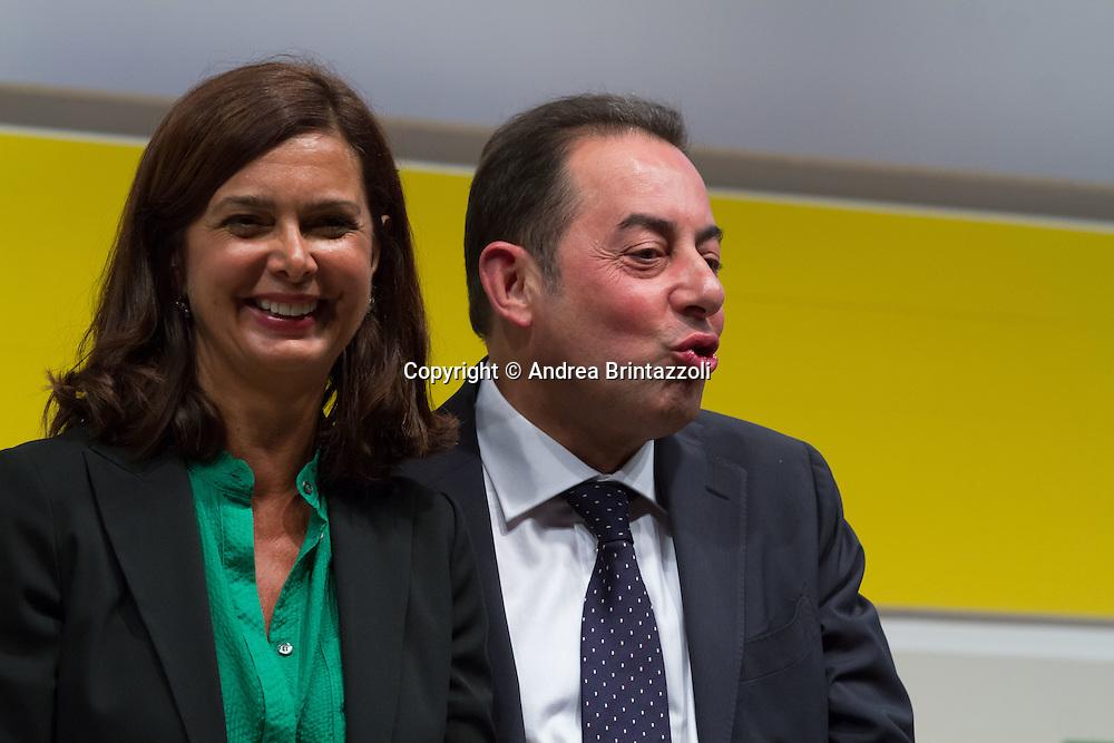 Bologna 05 Settembre 2014 - Festa dell'Unità - Dibattito: Cittadini e Istituzioni protagonisti del cambiamento. Nella foto Laura Boldrini, Gianni Pittella