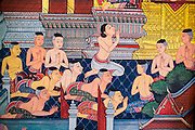 26 NOVEMBER 2012 - BANGKOK, THAILAND:   A detail of a painting on a wall depicting the Ramakien (the Thai version of the Indian Ramayana) in Wat Pho in Bangkok. Thailand's Temple of the Reclining Buddha has gained further global prominence following a 45-minute tour by U.S. President Barack Obama and Secretary of State Hillary Clinton during their November 18-19 visit to the kingdom. Known also as the Temple of the Reclining Buddha, its official name is Wat Phra Chettuphon Wimon Mangkhlaram Ratchaworamahawihan. The temple is also known as the birthplace of traditional Thai massage. There is a popular massage school on the temple grounds.   PHOTO BY JACK KURTZ