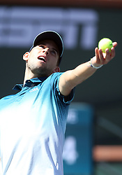 March 16, 2019 - Indian Wells, CA, U.S. - INDIAN WELLS, CA - MARCH 16: Dominic Thiem (AUT) hits a serve during the semifinals of the BNP Paribas Open on March 16, 2019, at the Indian Wells Tennis Gardens in Indian Wells, CA. (Photo by Adam Davis/Icon Sportswire) (Credit Image: © Adam Davis/Icon SMI via ZUMA Press)