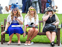 LIVERPOOL, ENGLAND - Friday, April 4, 2014: Annabel Freeman-Fielding and Zoe Shuttleworth during Ladies' Day on Day Two of the Aintree Grand National Festival at Aintree Racecourse. (Pic by David Rawcliffe/Propaganda)