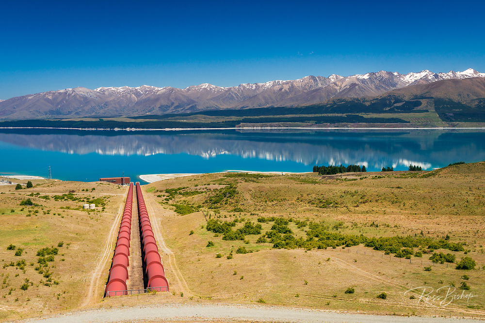 Tekapo Canal intake at Lake Pukaki, Ben Ohau, Canterbury, South Island, New Zealand