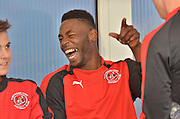 Jamille Matt in in high spirits during the Sky Bet League 1 match between Bury and Fleetwood Town at Gigg Lane, Bury, England on 18 August 2015. Photo by Mark Pollitt.