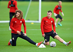 CARDIFF, WALES - Saturday, September 8, 2018: Wales' Ethan Ampadu (left) and Ben Woodburn (right) during a training session at the Vale Resort ahead of the UEFA Nations League Group Stage League B Group 4 match between Denmark and Wales. (Pic by David Rawcliffe/Propaganda)