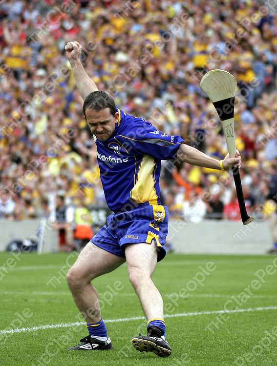 Clare goalie Davy Fitzgerald couldn't hold in his excitement at the start of the second half of the All Ireland Hurling Semi-Final as it looked like Clare might just knock out the defending campions Cork, but it wasn't to be.<br /> <br /> Photograph by Yvonne Vaughan.