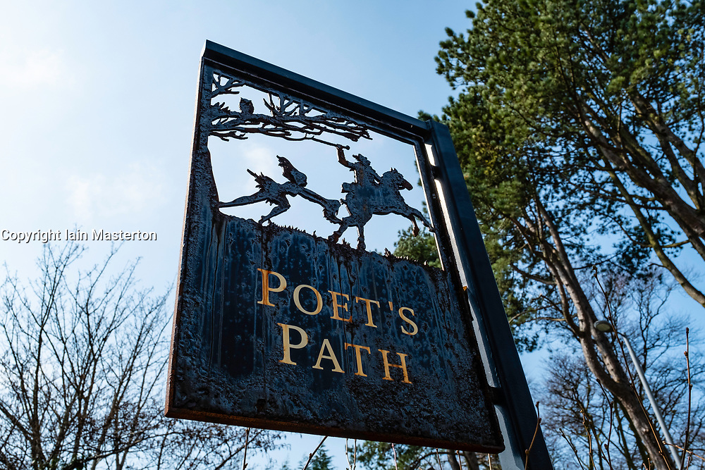 Sign on Poet's Path leading to Burns Cottage in Alloway, Ayrshire, Scotland, UK