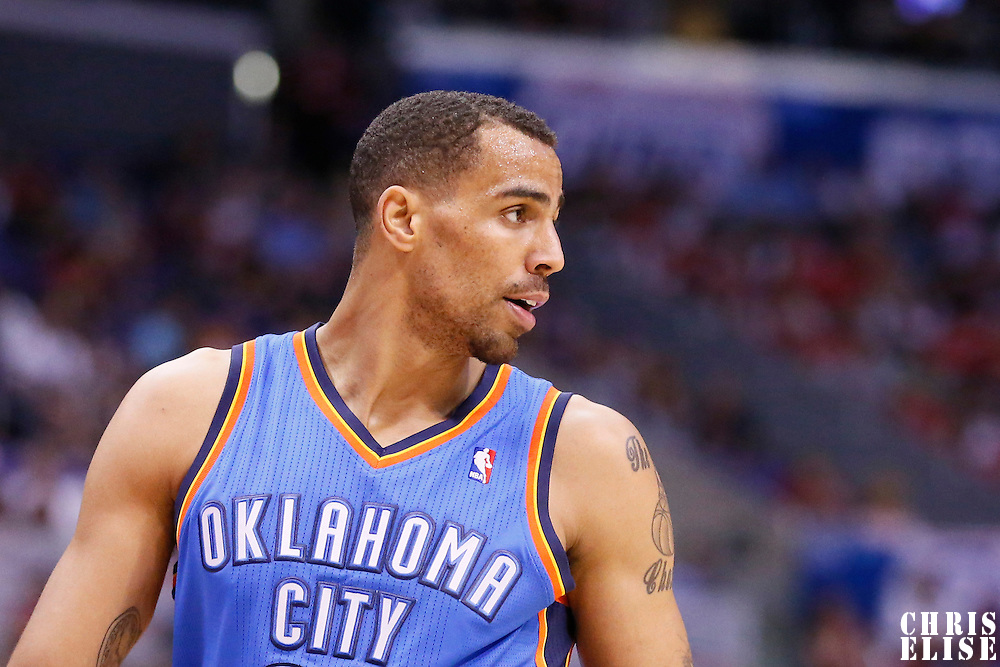 11 May 2014: Oklahoma City Thunder guard Thabo Sefolosha (25) is seen during the Los Angeles Clippers 101-99 victory over the Oklahoma City Thunder, during Game Four of the Western Conference Semifinals of the NBA Playoffs, at the Staples Center, Los Angeles, California, USA.