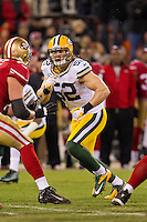 12 January 2013: Linebacker (52) Clay Matthews of the Green Bay Packers rushes against the San Francisco 49ers during the first half of the 49ers 45-31 victory over the Packers in an NFL Divisional Playoff Game at Candlestick Park in San Francisco, CA.