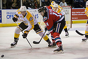 KELOWNA, CANADA - DECEMBER 03:  Jake Kryski #14 of the Kelowna Rockets, Cole Reinhardt #23 of the Brandon Wheat Kings at the Kelowna Rockets game on December 03, 2016 at Prospera Place in Kelowna, British Columbia, Canada.  (Photo By Cindy Rogers/Nyasa Photography,  *** Local Caption ***