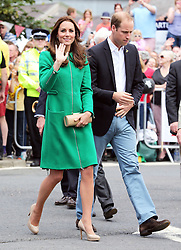 Image licensed to i-Images Picture Agency. 05/07/2014. West Tanfield, Yorkshire, United Kingdom. The Duke and Duchess of Cambridge arriving in the village of West Tanfield, Yorkshire to meet locals on the route of the Tour de France . Picture by Stephen Lock / i-Images