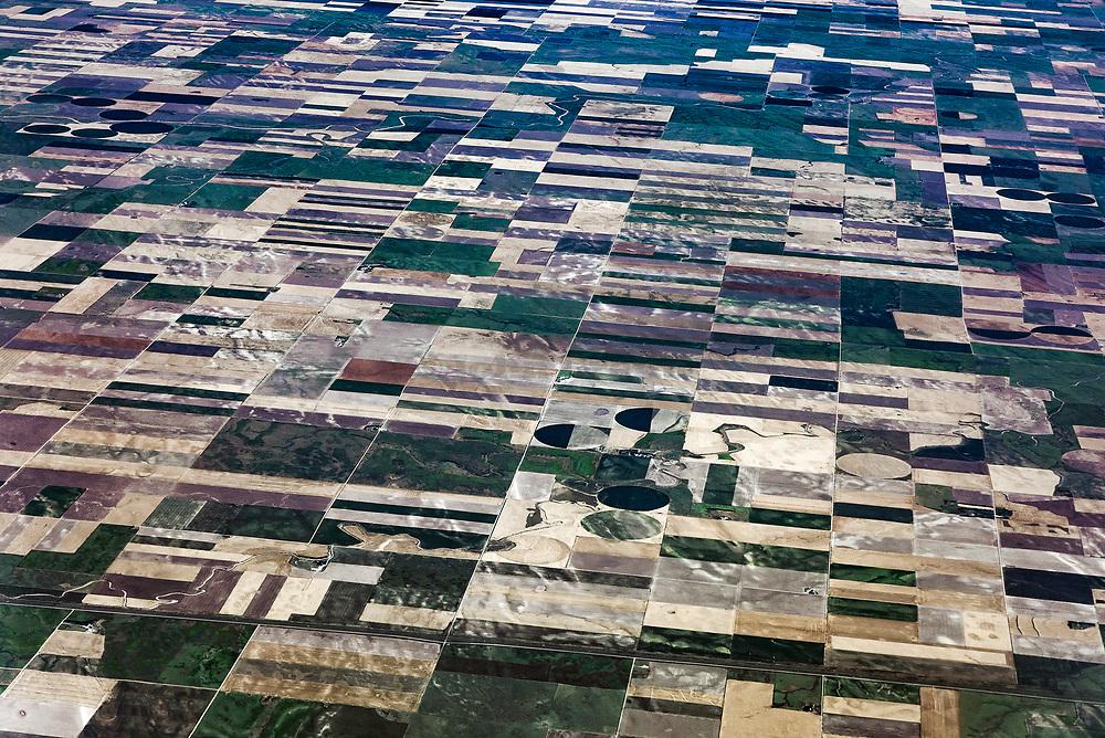 Aerial view of rural farm  fields.