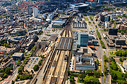 Nederland, Noord-Brabant, Eindhoven, 27-05-2013; stationsgebied in de binnenstad, Centraal Station met omgeving, met onder andere 17 en 18 Septemberplein, Vestdijk en Vestdijktunnel. Boven is nog het Philipsstadion te zien (PSV),  links woontorenAdmirant aan de Nieuwe Emmasingel, hoogste gebouw in de stad.<br /> Downtown area with central station and immediate environment, top pic the PSV Football Stadium (Philips Stadion).<br /> luchtfoto (toeslag op standard tarieven);<br /> aerial photo (additional fee required);<br /> copyright foto/photo Siebe Swart