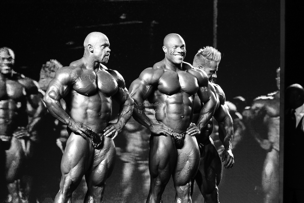 Waiting for final results on stage at the 2010 Mr. Olympia finals in Las Vegas.