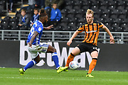 Birmingham City midfielder Jacques Maghoma (19) and Hull City defender Max Clark (24)  during the EFL Sky Bet Championship match between Hull City and Birmingham City at the KCOM Stadium, Kingston upon Hull, England on 30 September 2017. Photo by Ian Lyall.
