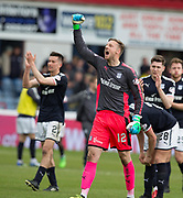 5th May 2018, Dens Park, Dundee, Scotland; Scottish Premier League football, Dundee versus Hamilton Academical; Dundee goalkeeper Elliott Parish celebrates at full time after his penalty save from Dougie Imrie of Hamilton Academical had earned Dundee the win