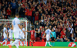 LIVERPOOL, ENGLAND - Wednesday, August 23, 2017: Liverpool's Mohamed Salah celebrates scoring the second goal during the UEFA Champions League Play-Off 2nd Leg match between Liverpool and TSG 1899 Hoffenheim at Anfield. (Pic by David Rawcliffe/Propaganda)