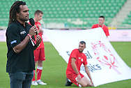 Christian Karembeu - Special Olympics Ambassador  former French soccer player and current scout for Arsenal Football Club speaks during the 2013 Special Olympics European Unified Football Tournament in Warsaw, Poland.<br /> <br /> Poland, Warsaw, June 08, 2012<br /> <br /> Picture also available in RAW (NEF) or TIFF format on special request.<br /> <br /> For editorial use only. Any commercial or promotional use requires permission.<br /> <br /> <br /> Mandatory credit:<br /> Photo by © Adam Nurkiewicz / Mediasport