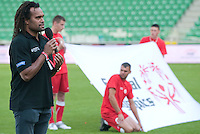 Christian Karembeu - Special Olympics Ambassador  former French soccer player and current scout for Arsenal Football Club speaks during the 2013 Special Olympics European Unified Football Tournament in Warsaw, Poland.<br /> <br /> Poland, Warsaw, June 08, 2012<br /> <br /> Picture also available in RAW (NEF) or TIFF format on special request.<br /> <br /> For editorial use only. Any commercial or promotional use requires permission.<br /> <br /> <br /> Mandatory credit:<br /> Photo by &copy; Adam Nurkiewicz / Mediasport