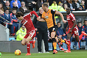 Diego Fabbrini of Middlesbrough FC and Hull City midfielder David Meyler fight for ball during the Sky Bet Championship match between Hull City and Middlesbrough at the KC Stadium, Kingston upon Hull, England on 7 November 2015. Photo by Ian Lyall.