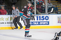 KELOWNA, CANADA - OCTOBER 22: Mitchell Wheaton #6 of the Kelowna Rockets stands on the ice against the Calgary Hitmen on October 22, 2013 at Prospera Place in Kelowna, British Columbia, Canada.   (Photo by Marissa Baecker/Shoot the Breeze)  ***  Local Caption  ***