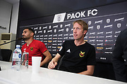 THESSALONIKI, GREECE - AUGUST 16: Sotirios Papagiannopoulus of Oestersunds FK and Graham Potter, head coach of Oestersunds FK during press conference ahead of the UEFA Europa League Qualifying Play-Offs round first leg match between PAOK Saloniki and &Ouml;stersunds FK at Toumba Stadium on August 16, 2017 in Thessaloniki, Greece. Foto: Nils Petter Nilsson/Ombrello<br /> ***BETALBILD***