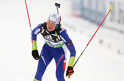 Teja Gregorin of Slovenia during the Women 15 km Individual of the e.on IBU Biathlon World Cup on Thursday, December 16, 2010 in Pokljuka, Slovenia. The fourth e.on IBU World Cup stage is taking place in Rudno Polje - Pokljuka, Slovenia until Sunday December 19, 2010.  (Photo By Vid Ponikvar / Sportida.com)