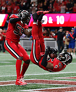Atlanta Falcons linebacker Deion Jones makes a late game interception against the New Orleans Saints.