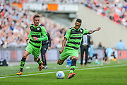 Forest Green's Keanu Marsh-Brown during the Conference Premier Final match between Forest Green Rovers and Grimsby Town FC at Wembley Stadium, London, England on 15 May 2016. Photo by Shane Healey.