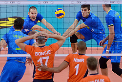 Tine Urnaut, Klemen Cebulj during volleyball match between National teams of Netherlands and Slovenia in Playoff of 2015 CEV Volleyball European Championship - Men, on October 13, 2015 in Arena Armeec, Sofia, Bulgaria. Photo by Ronald Hoogendoorn / Sportida