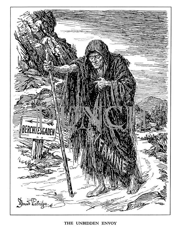 The Unbidden Envoy. (a mountain signpost shows Famine the way to the Berchtesgaden)