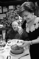 "for story by RW Apple....Pot au Feu in the Parisian bistro ""Chez la Vieille - 'Adrienne' ""....It is being served by Marie-Jose Cervoni, the owner and hostess....photo by Owen Franken"