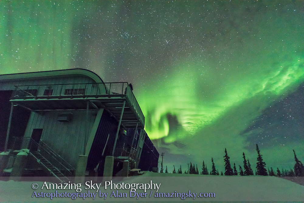 A modest aurora over the Churchill Northern Studies Centre, Churchill, Manitoba, on January 29, 2017. Note the odd looping shape that formed for a minite or so. This is one frame from 300 taken as part of a rapid-cadence time-lapse sequence. A 1-second exposure at ISO 3200 at f/1.4 with the Sigma 20mm Art lens.